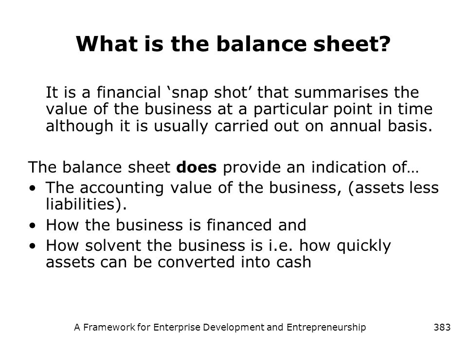 What is the balance sheet