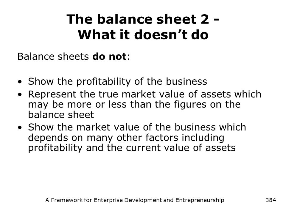 The balance sheet 2 - What it doesn't do