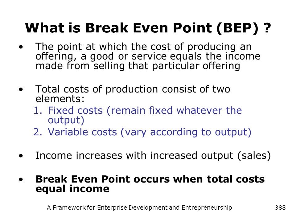 What is Break Even Point (BEP)