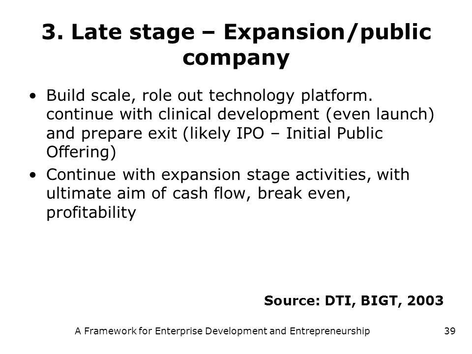 3. Late stage – Expansion/public company