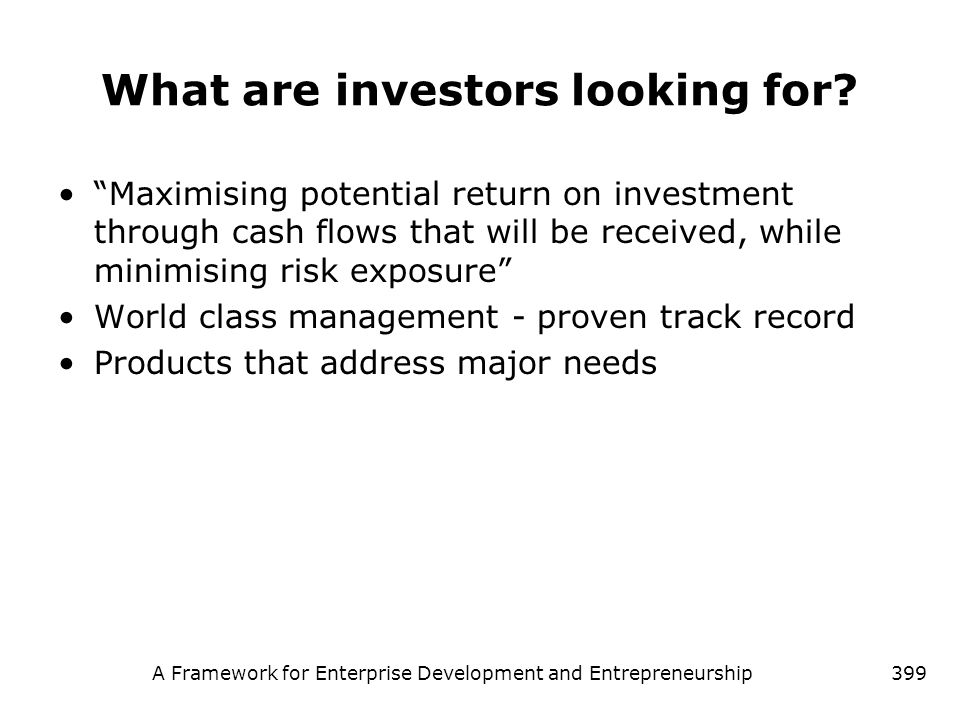 What are investors looking for