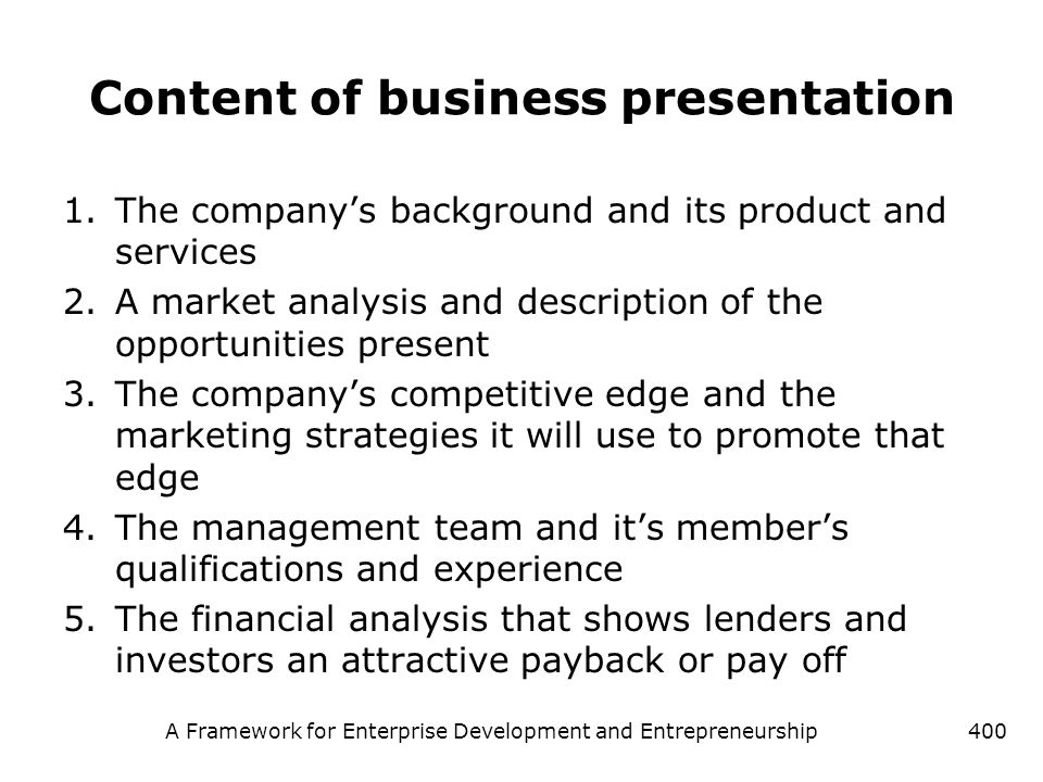 Content of business presentation