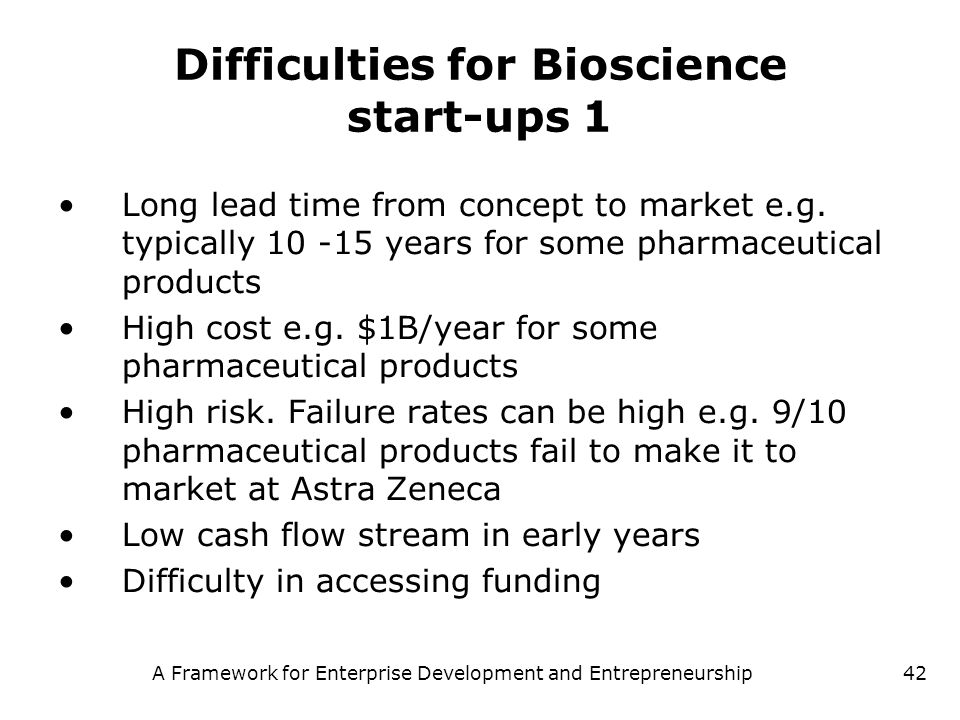 Difficulties for Bioscience start-ups 1