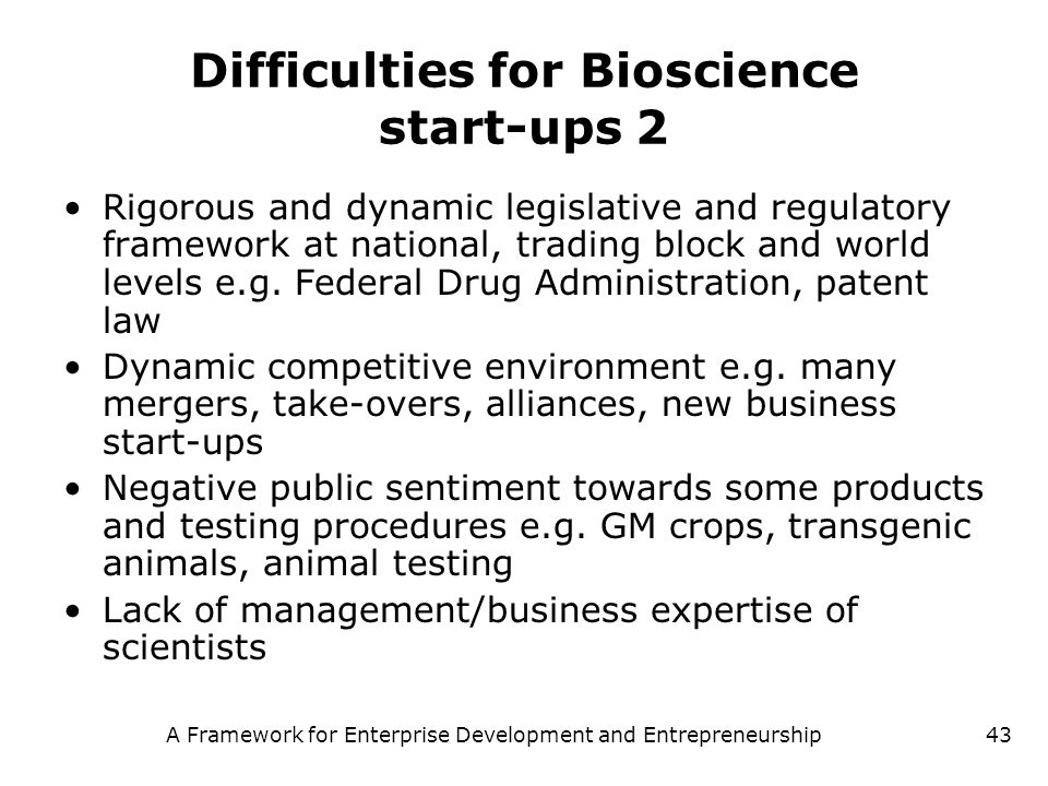Difficulties for Bioscience start-ups 2