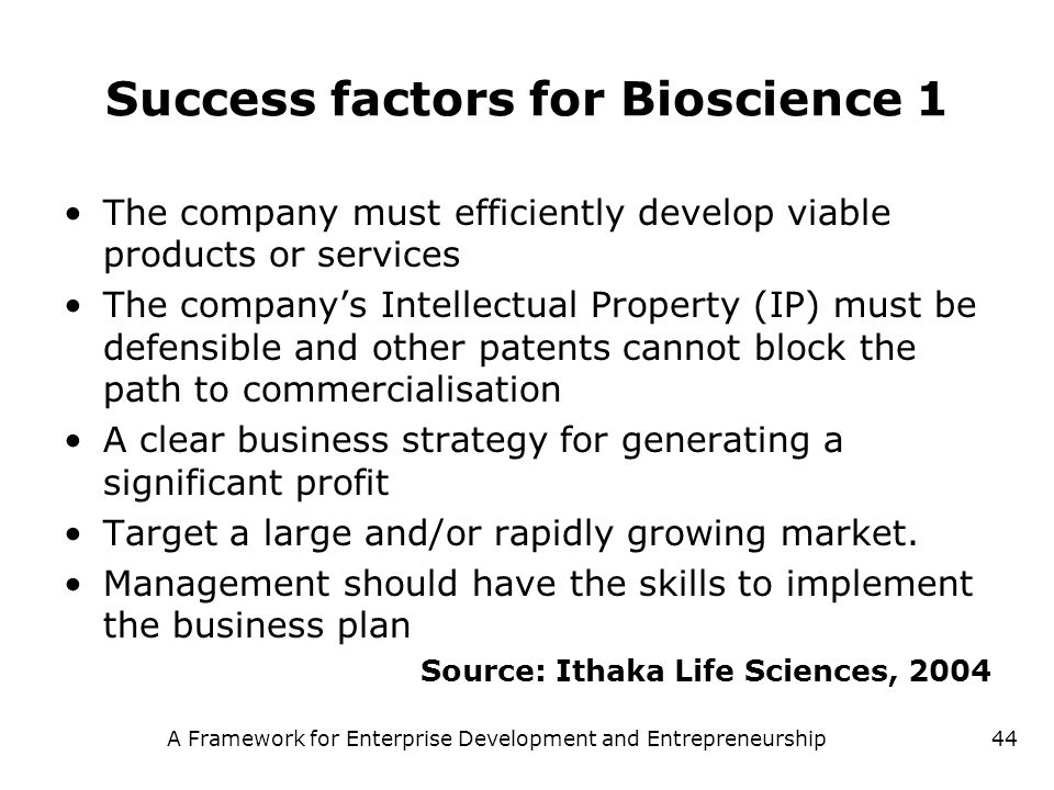 Success factors for Bioscience 1