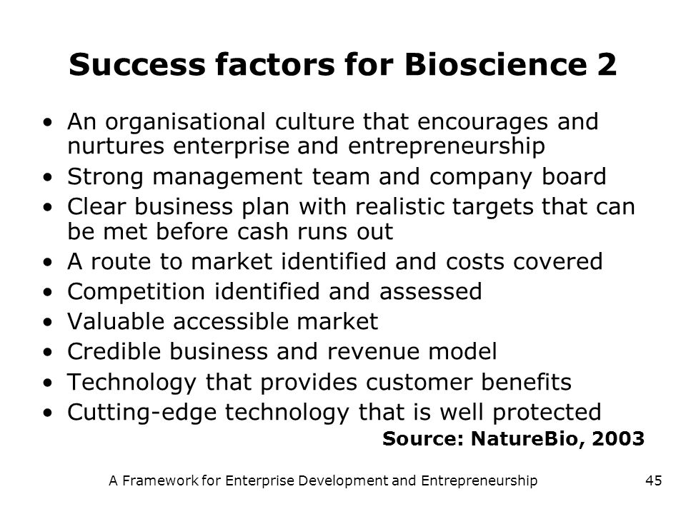 Success factors for Bioscience 2
