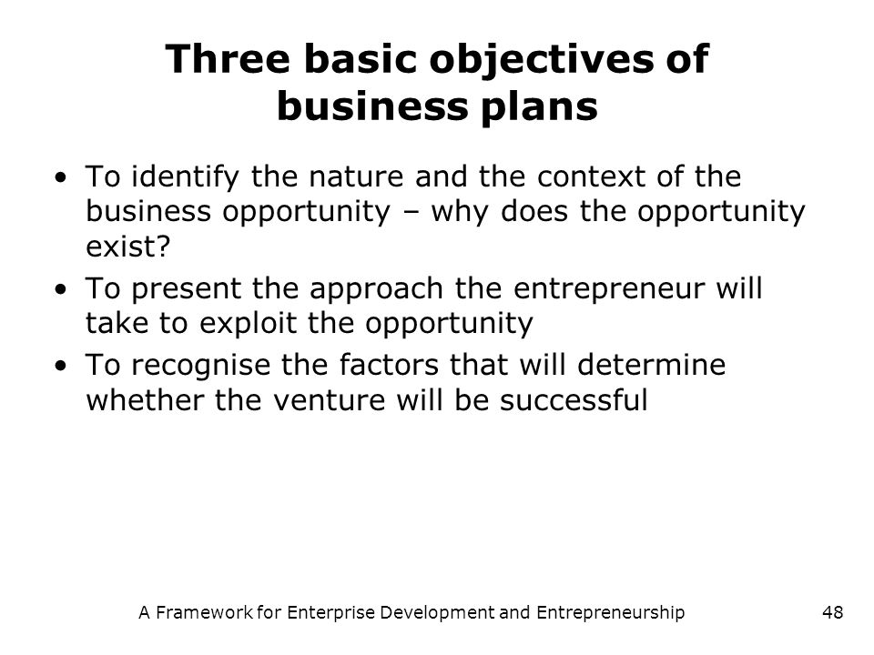 Three basic objectives of business plans