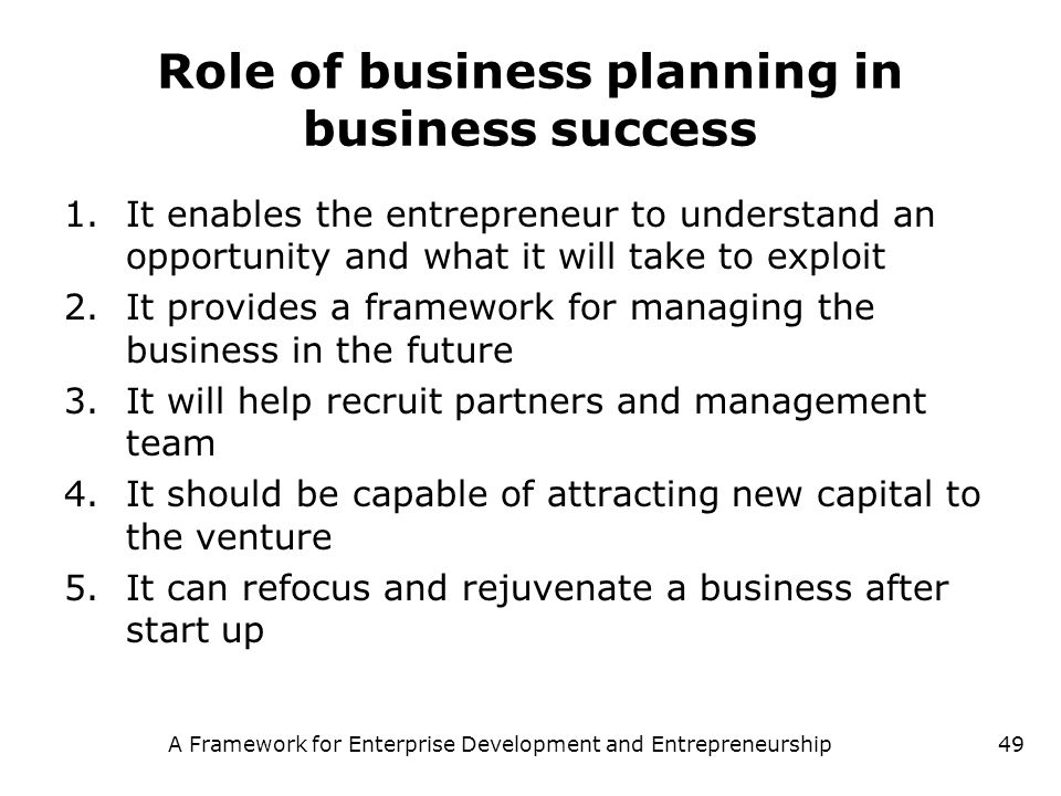 Role of business planning in business success