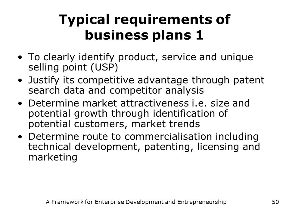 Typical requirements of business plans 1