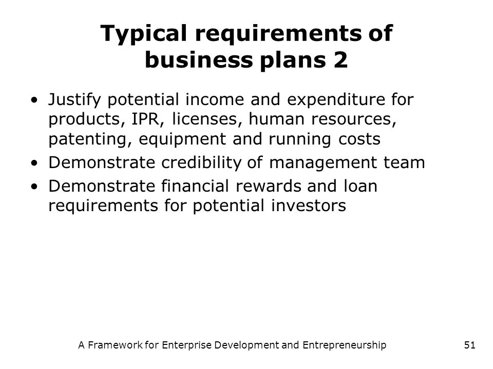 Typical requirements of business plans 2