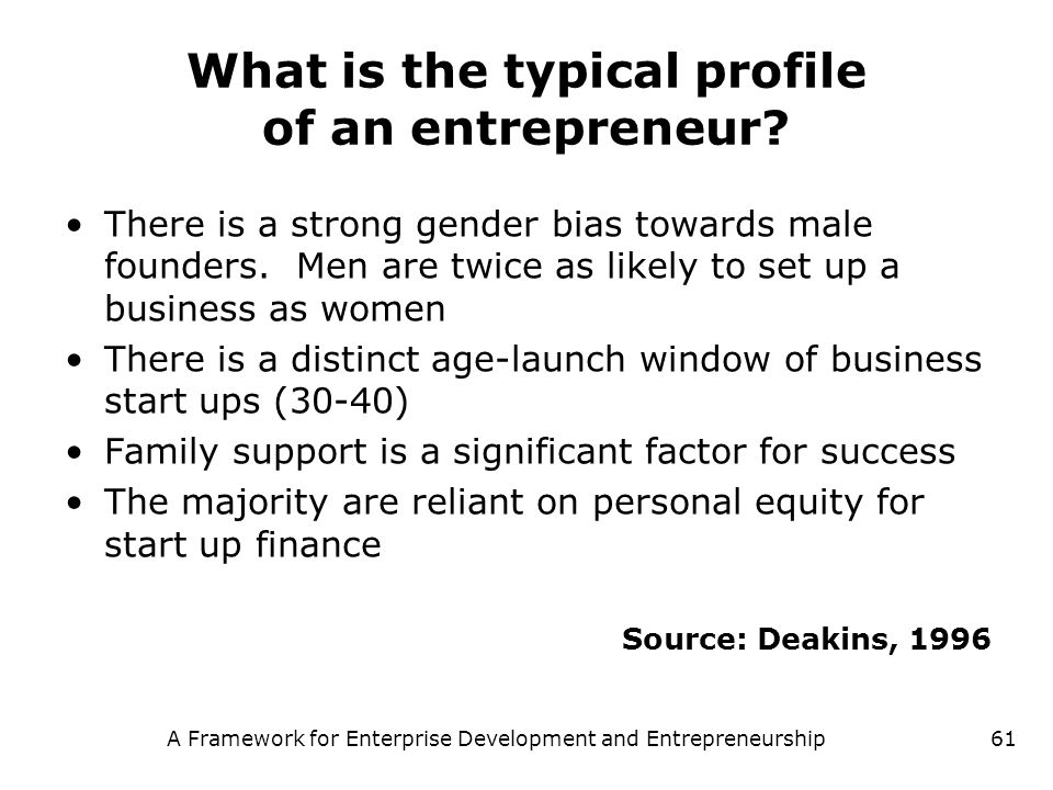 What is the typical profile of an entrepreneur