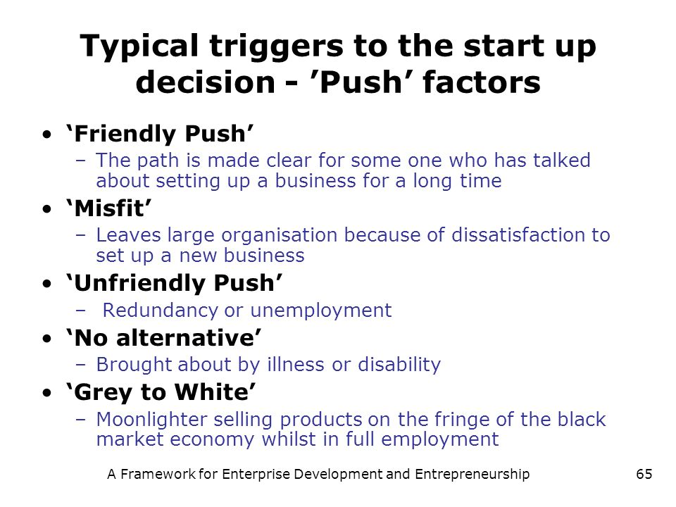 Typical triggers to the start up decision - 'Push' factors