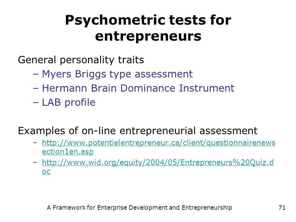 Psychometric tests for entrepreneurs