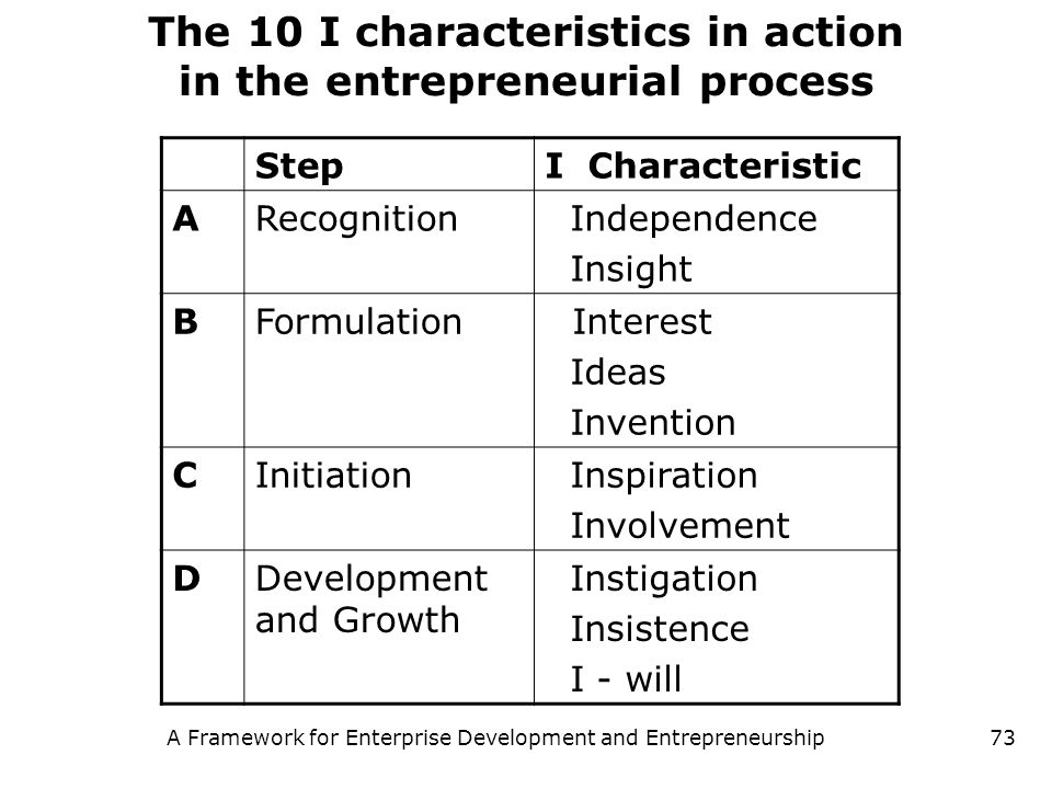 The 10 I characteristics in action in the entrepreneurial process