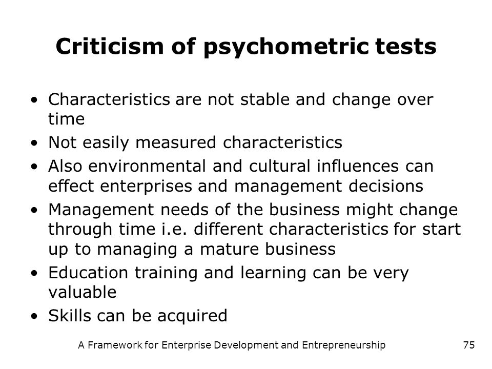 Criticism of psychometric tests