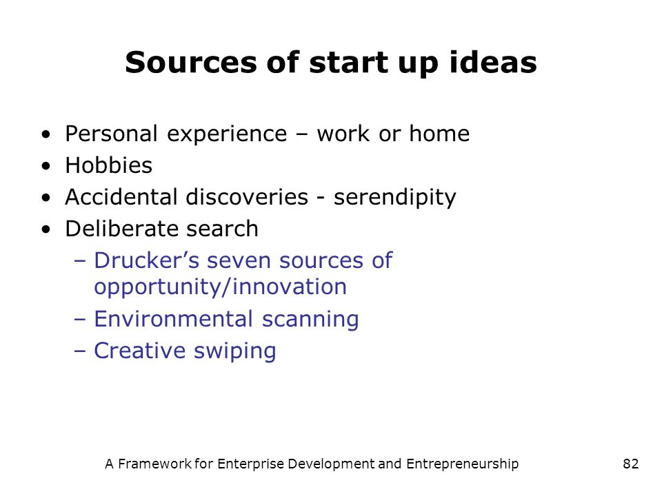 Sources of start up ideas