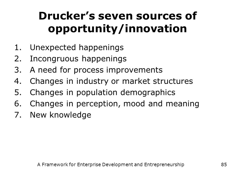 Drucker's seven sources of opportunity/innovation