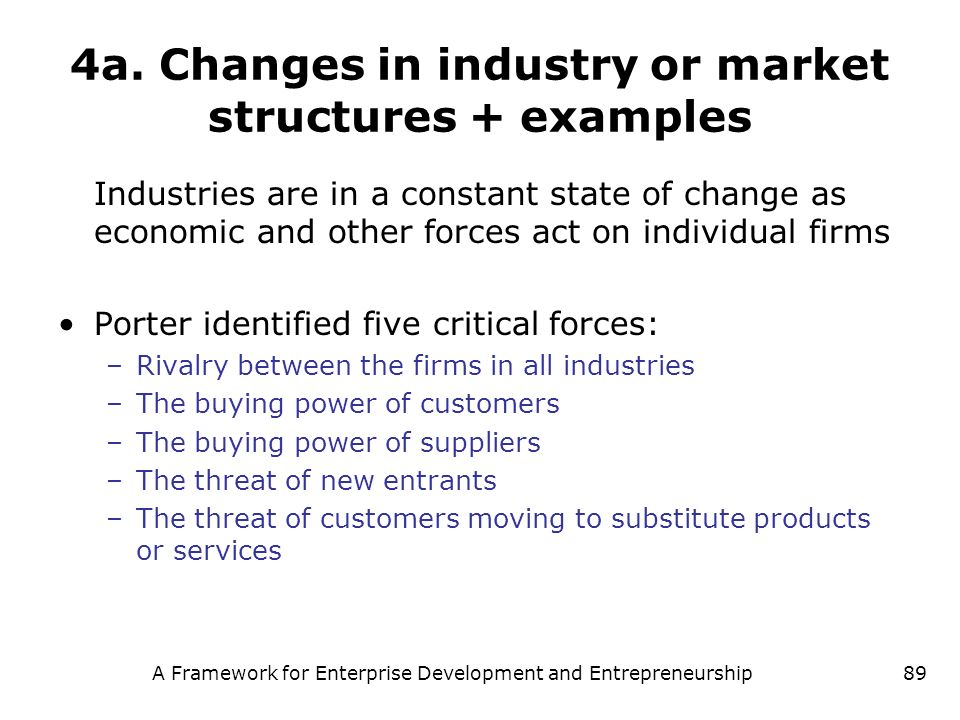 4a. Changes in industry or market structures + examples