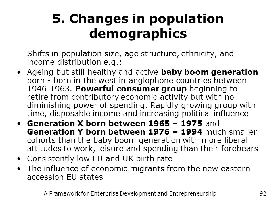5. Changes in population demographics