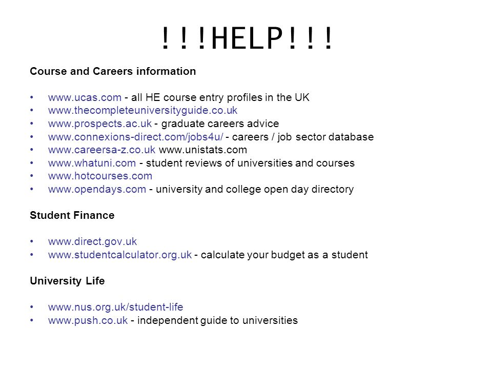 !!!HELP!!! Course and Careers information