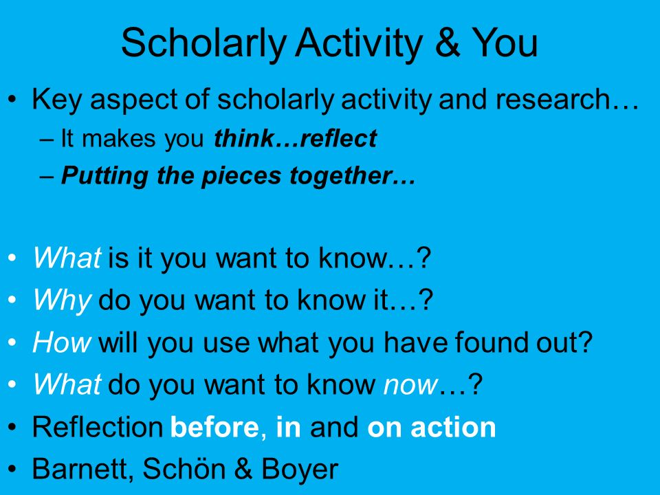 Scholarly Activity & You
