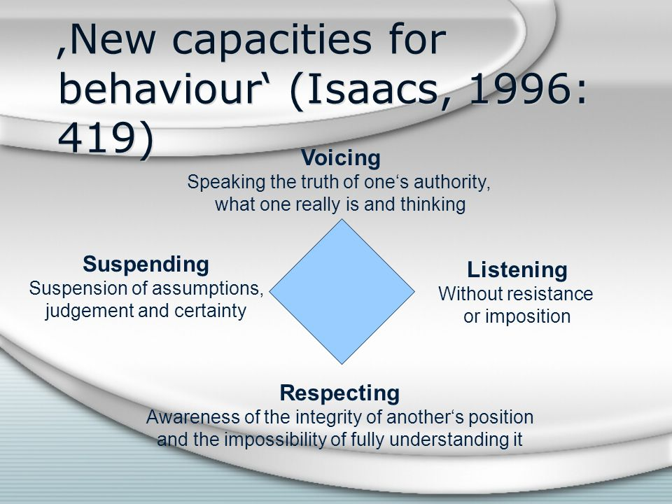 'New capacities for behaviour' (Isaacs, 1996: 419)