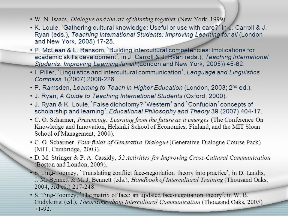 W. N. Isaacs, Dialogue and the art of thinking together (New York, 1999).