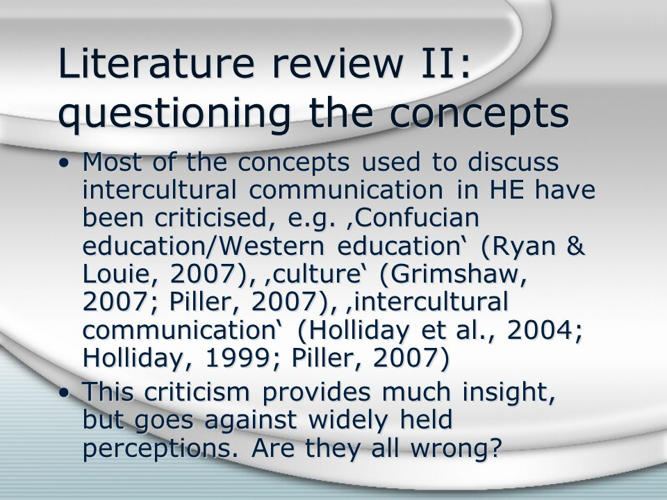 Literature review II: questioning the concepts