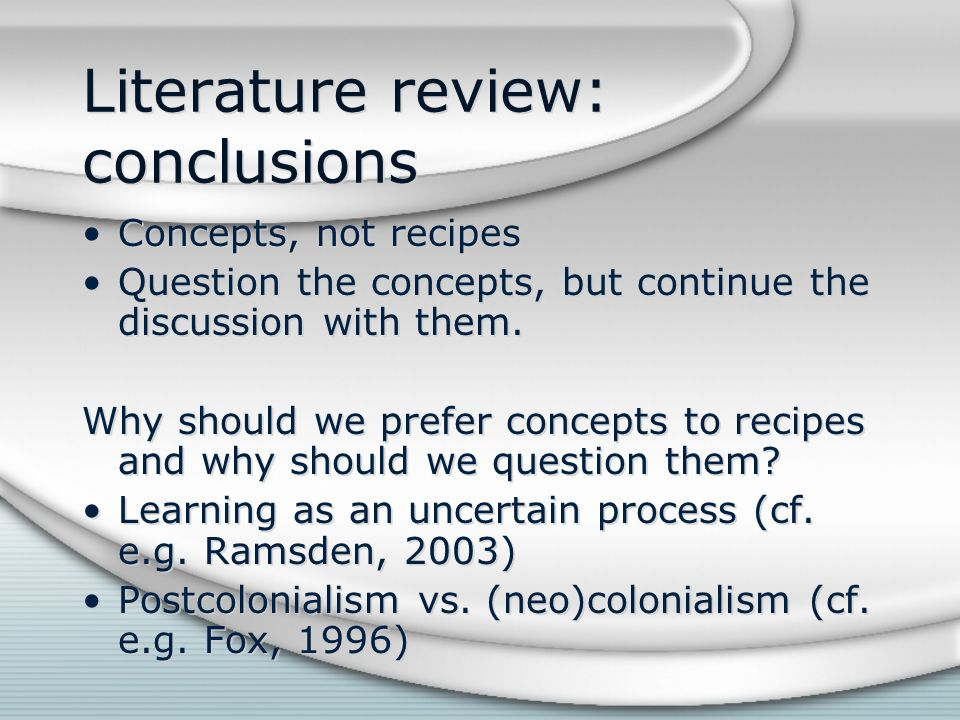Literature review: conclusions