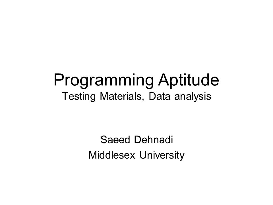 Programming Aptitude Testing Materials, Data analysis