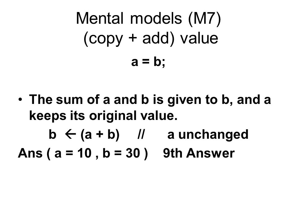 Mental models (M7) (copy + add) value