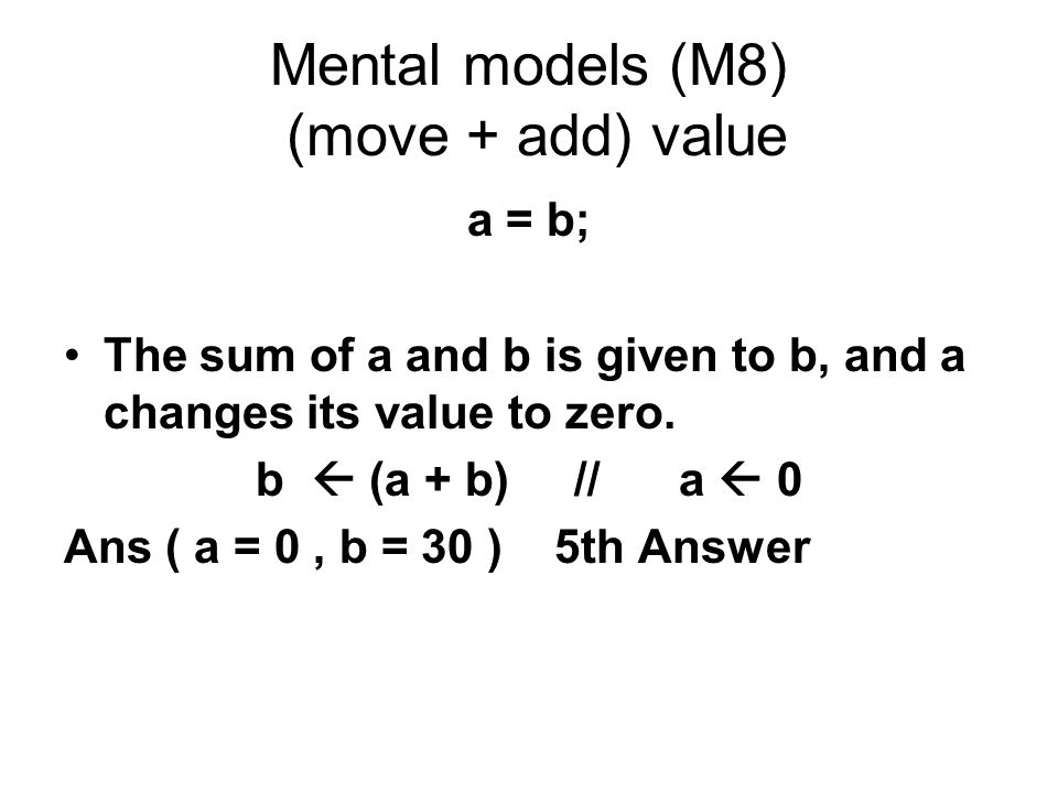 Mental models (M8) (move + add) value