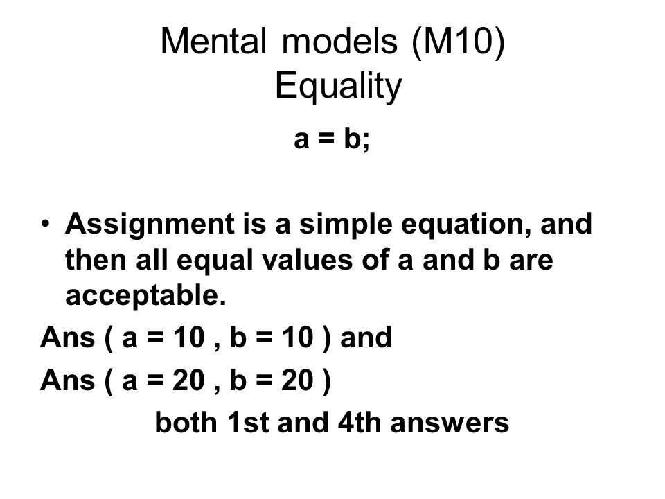 Mental models (M10) Equality