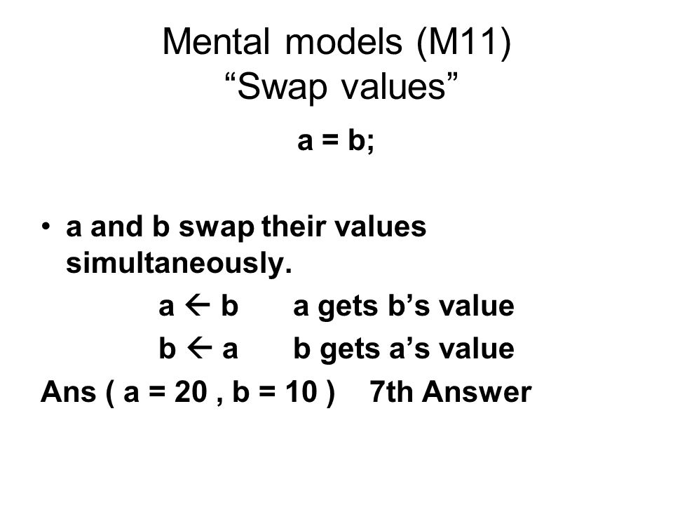 Mental models (M11) Swap values