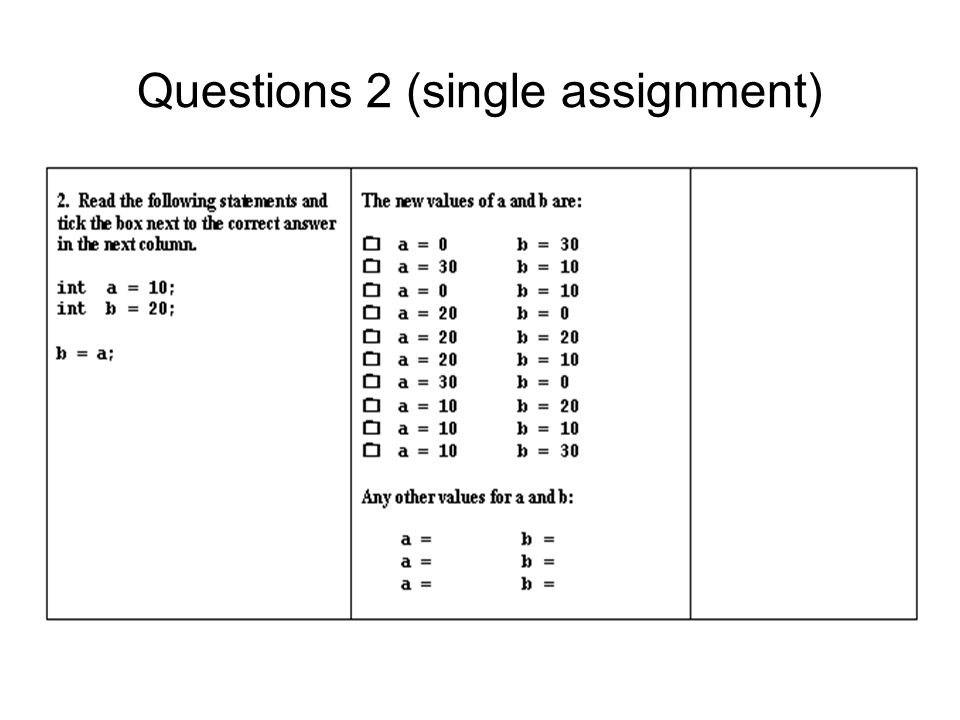 Questions 2 (single assignment)