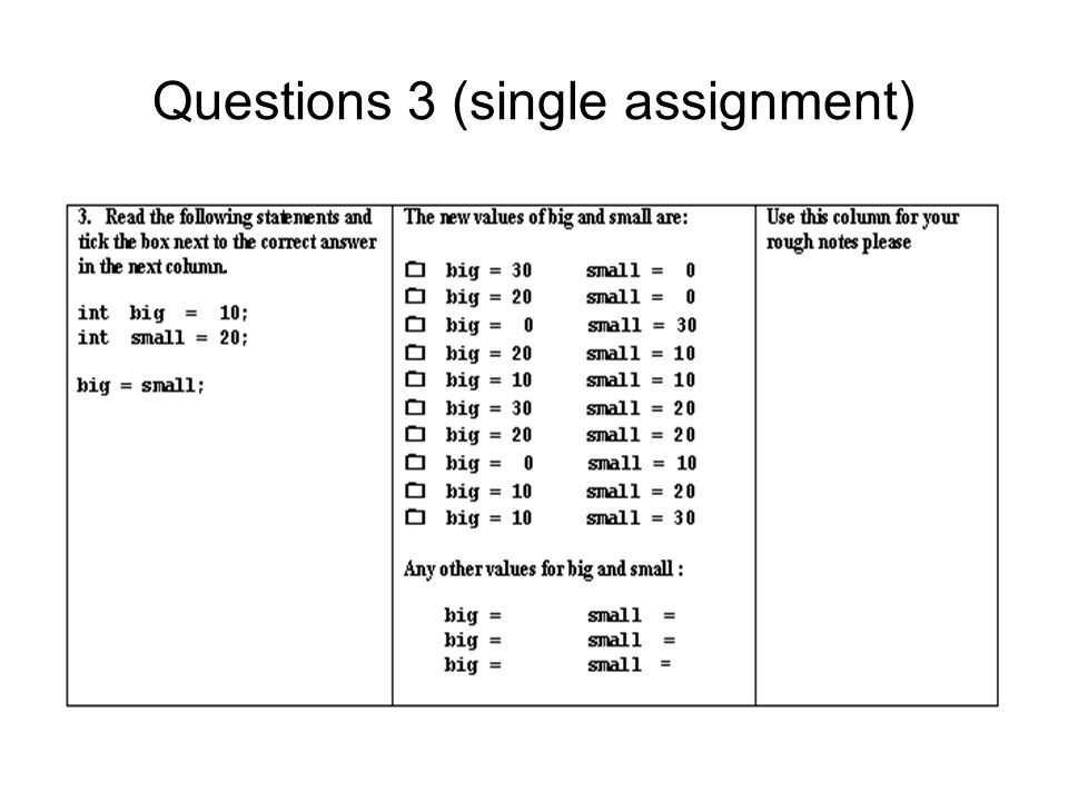 Questions 3 (single assignment)