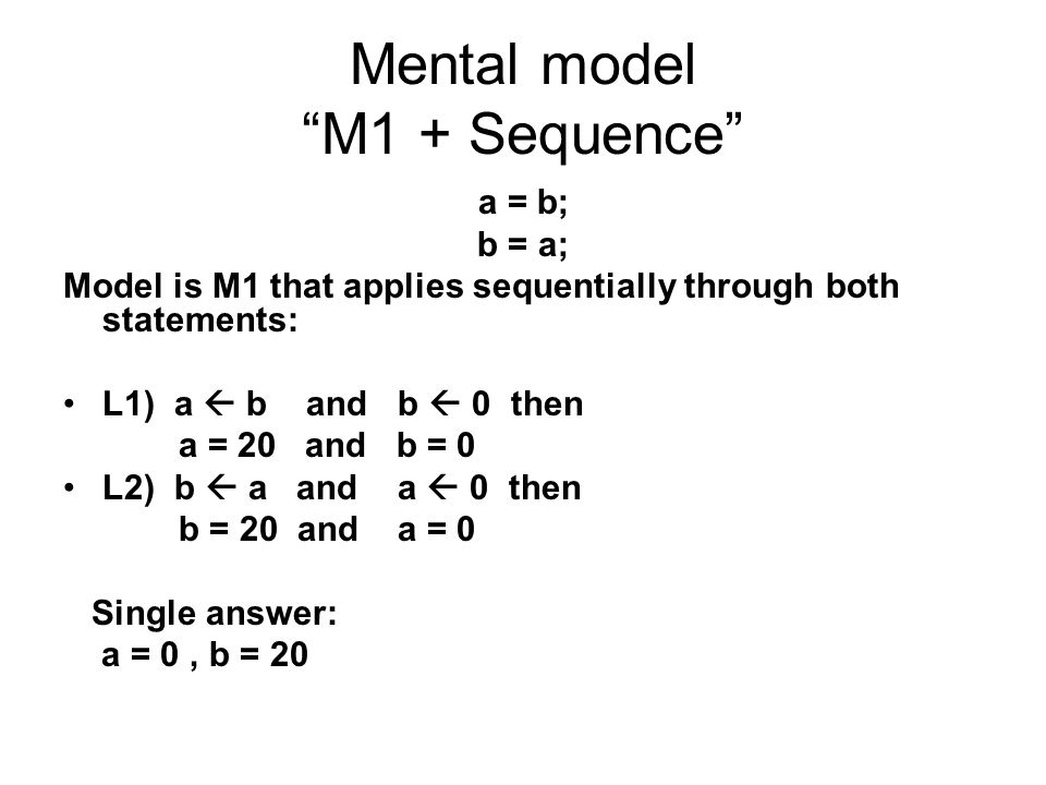 Mental model M1 + Sequence