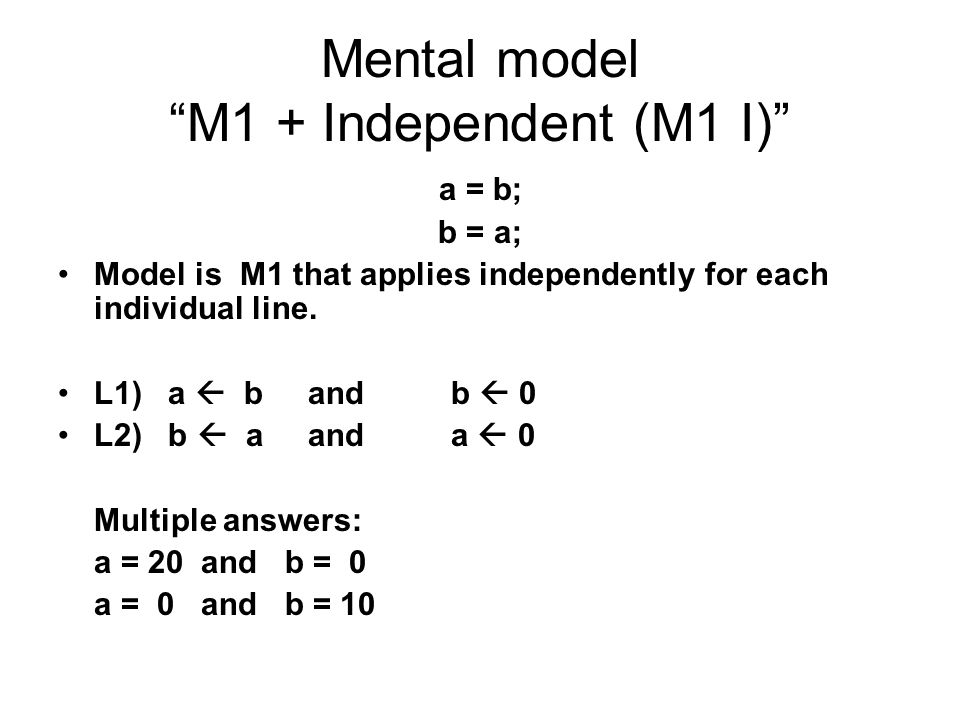 Mental model M1 + Independent (M1 I)