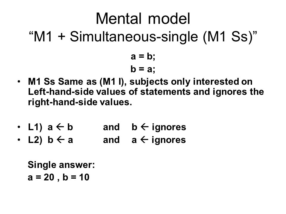 Mental model M1 + Simultaneous-single (M1 Ss)