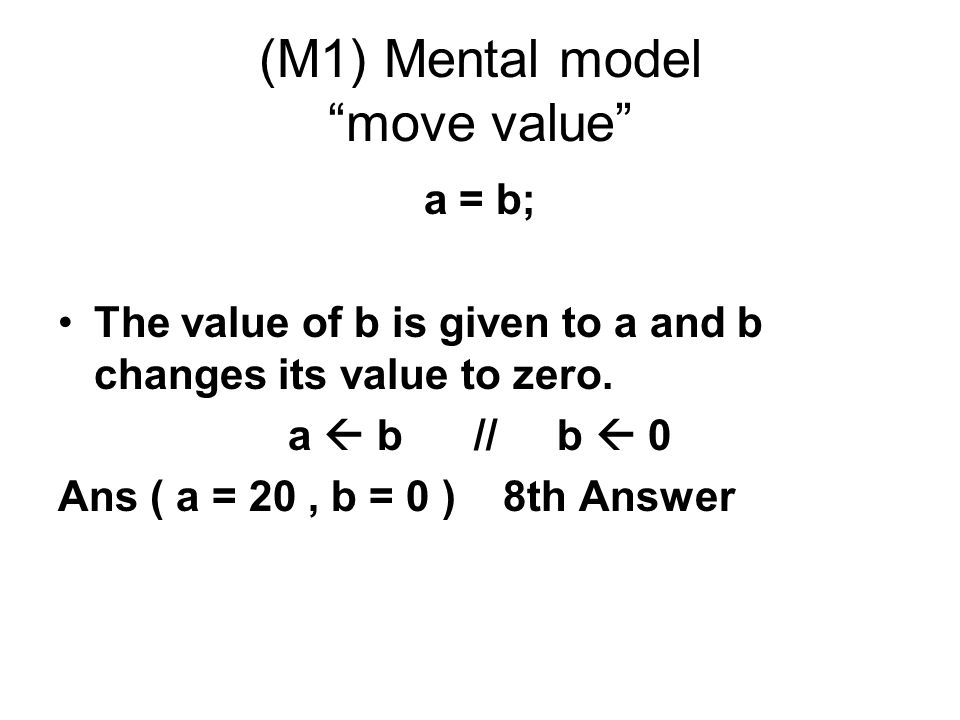 (M1) Mental model move value