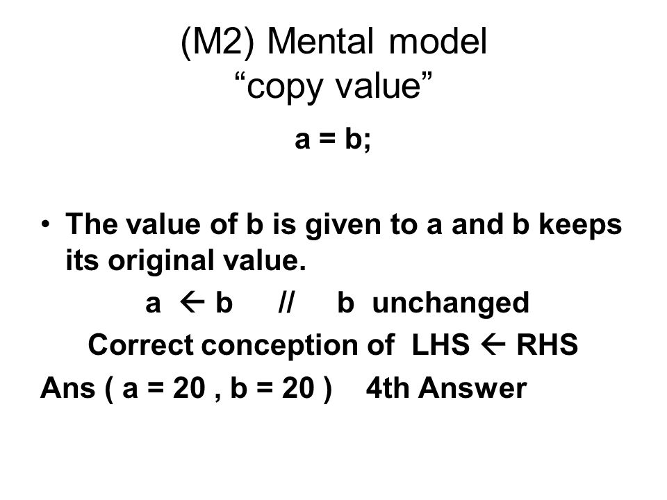 (M2) Mental model copy value
