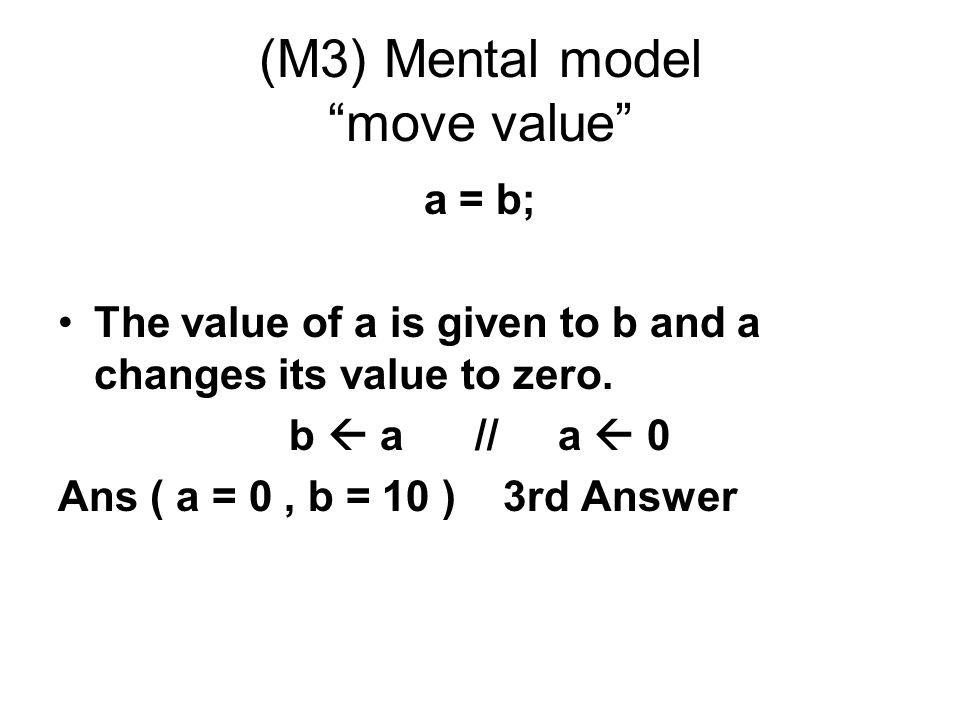 (M3) Mental model move value