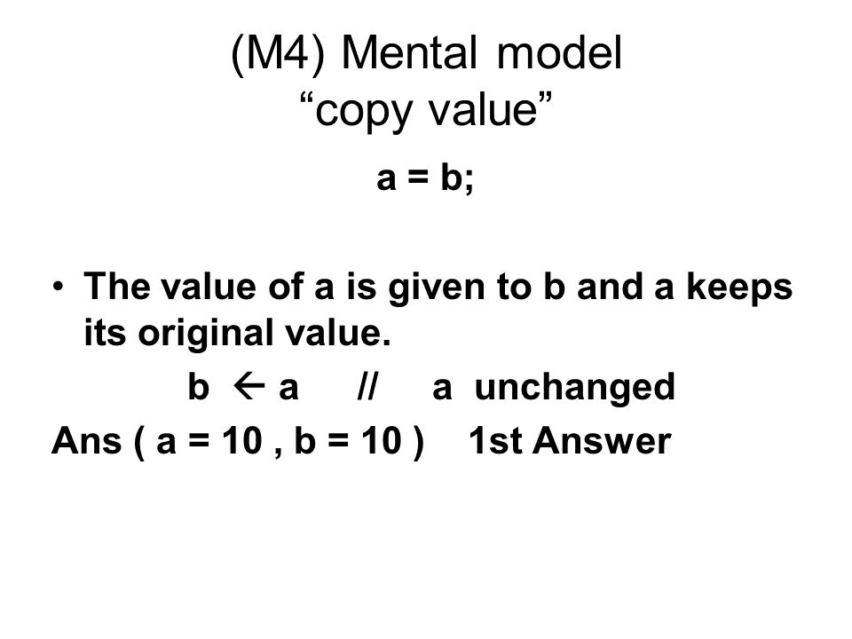 (M4) Mental model copy value