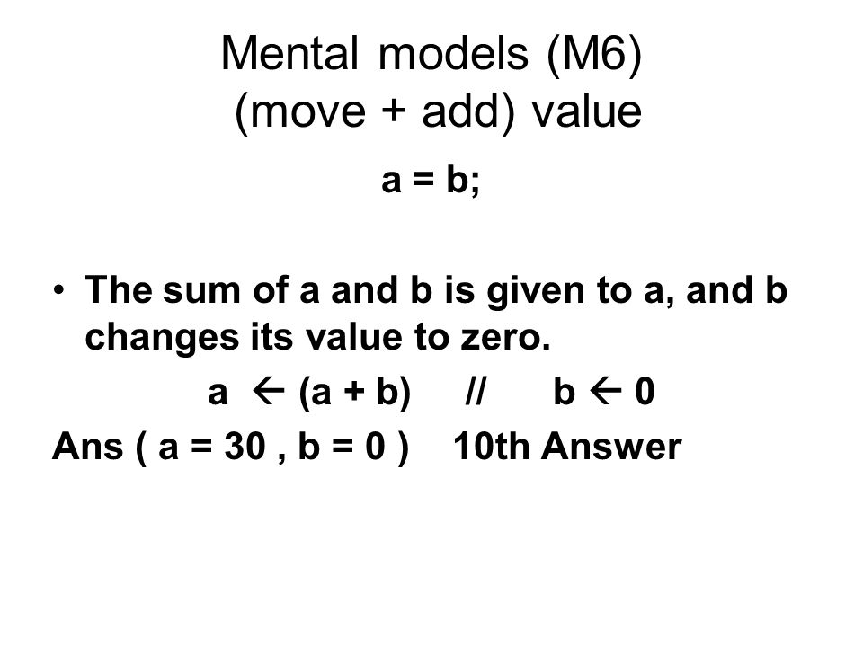 Mental models (M6) (move + add) value