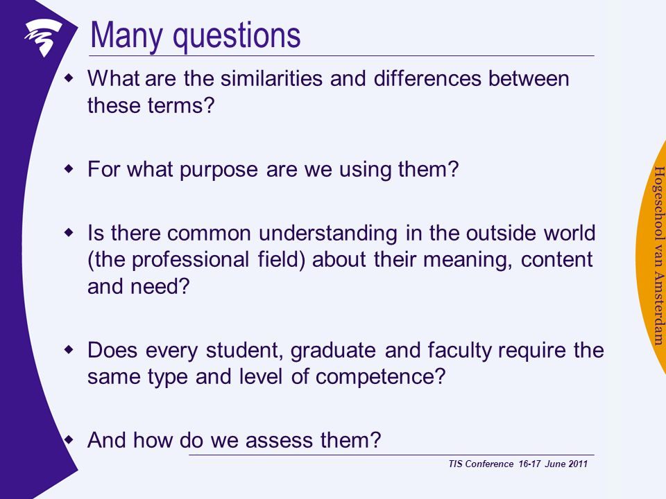 Many questions What are the similarities and differences between these terms For what purpose are we using them