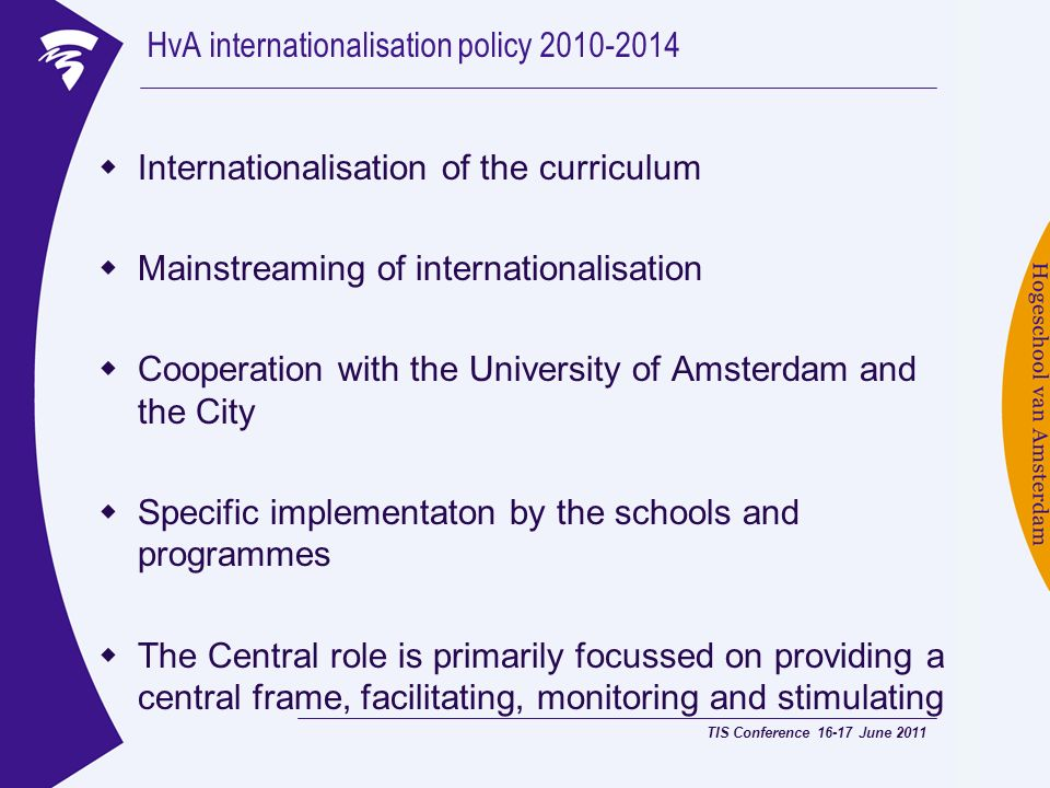HvA internationalisation policy 2010-2014