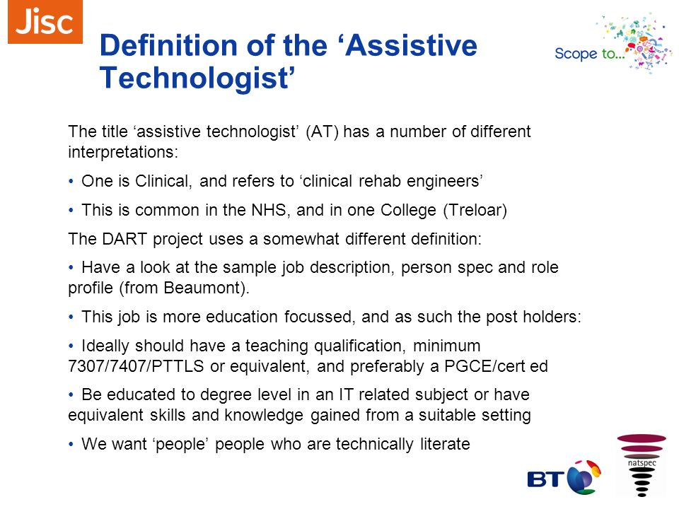 Definition of the 'Assistive Technologist'