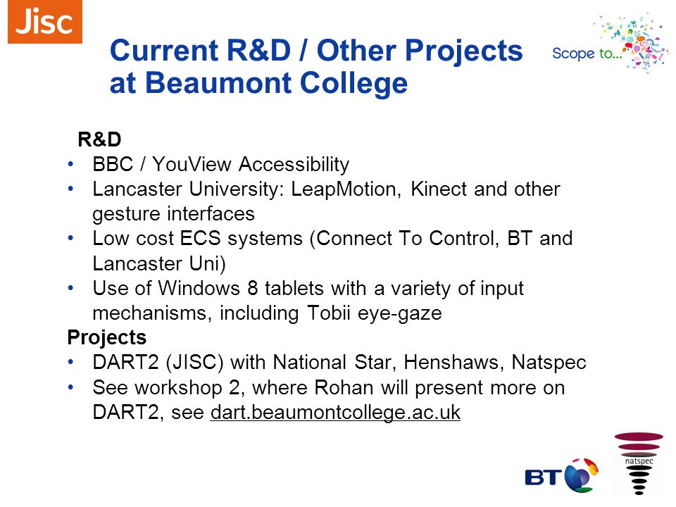 Current R&D / Other Projects at Beaumont College