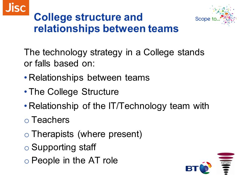 College structure and relationships between teams
