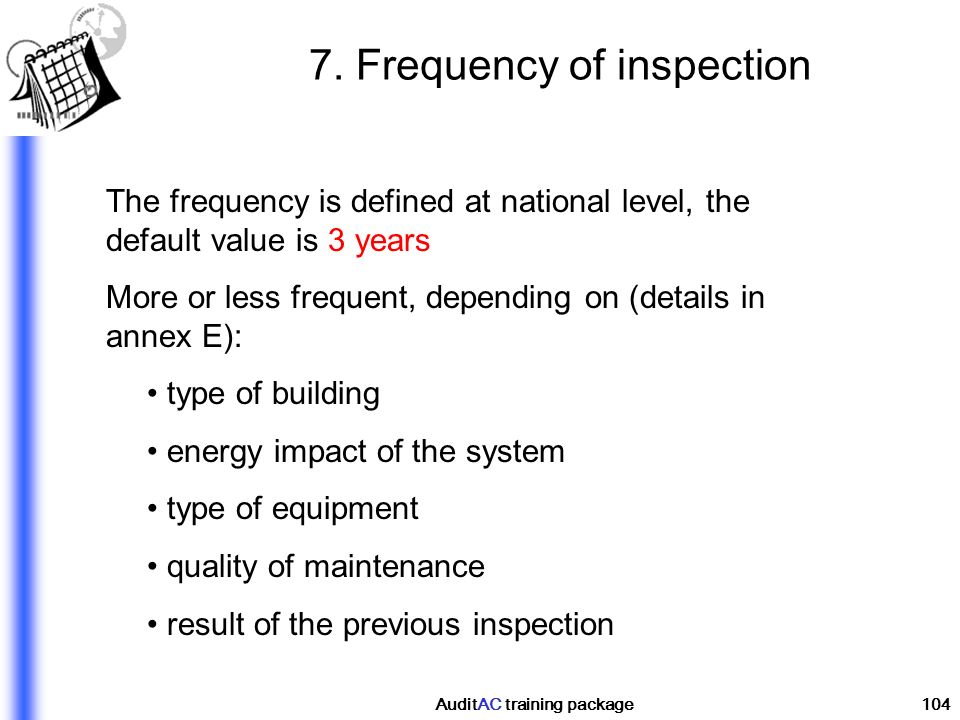7. Frequency of inspection